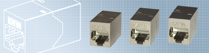 RJ45 Shielded Inline Coupler FACSm (Cat5e), SACSm (Cat6) and SGAC (Cat6A)